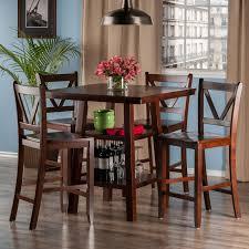 Orlando 5 Pc Set High Table 2 Shelves W 4 V Back Counter Stools