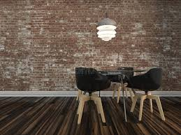 Download Small Modern Dining Table With Rustic Brick Wall Stock Illustration
