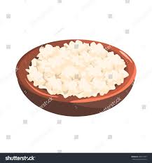 Plate Cottage Cheese Food Item Rich Stock Vector