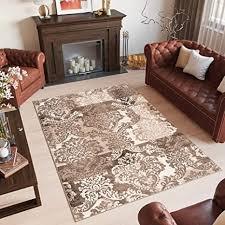 de tapiso laila teppich klassisch kurzflor braun