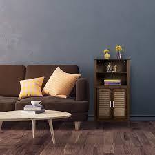 badezimmerschrank braun lamell bambus badschrank
