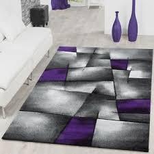 details zu teppich modern wohnzimmer teppiche madeira karo lila grau konturenschnitt optik