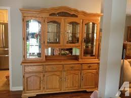 oak china cabinet hutch lighted mirrors glass shelves amish oak