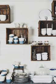 Using Wooden Crates As Shelving In The Kitchen