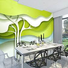 Mznm 3D Wallpaper Modern Simple Abstract Art Green Apple Tree Photo Mural Dining Room Living
