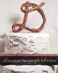 Letter D Twig Topper Scripted Grapevine Rustic Cursive Cake Wedding Natural Handmade Top