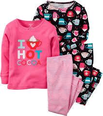 Amazon Com 4 Piece Baby by Amazon Com Carters Little Girls U0027 Cocoa 4 Piece Pajama Set 4