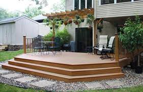 20 x 12 attaced elevated patio deck with wide stairs at menards