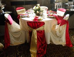 Red And Ivory Tie Back Chair Covers With Red And Gold Satin ...