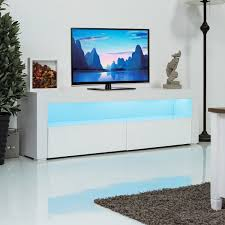 Giantex Living Room TV Stand Unit Cabinet Console Furniture With LED Shelves And Drawers Modern White TV Stand HW56643WH