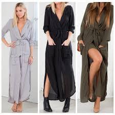 beach wear black long sleeve high split maxi dress deep v