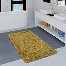 paco home moderne badematte badezimmer teppich shaggy weich in versch größen u farben grösse 70x120 cm farbe gelb