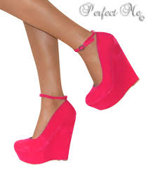 pink high wedge heels platform strappy party shoe sandal ankle