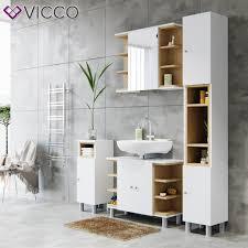 vicco badmöbel set aquis weiß eiche spiegel real de