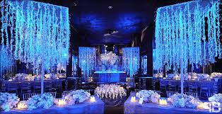 Winter Wonderland Wedding With Blue Lighting And Hanging Crystals