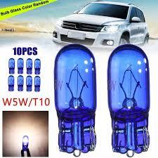 10pcs t10 168 w5w 5w halogen bulb cool blue white globe xenon