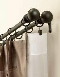 Decorative Metal Traverse Curtain Rods by Decor Black Double Curtain Rod Set With Finials