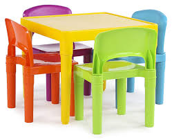 Amazon.com: Tot Tutors Kids Plastic Table And 4 Chairs Set, Vibrant ...