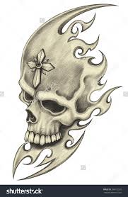 Pencil Drawings Of Tattoos Skull Tattoohand Drawing On Paper