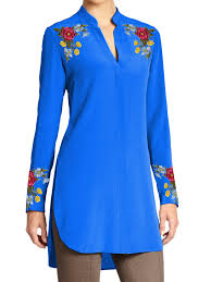 ladies tunic with multicolor floral embroidery on shoulders and