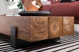 couchtisch soron 115x22x44cm sheesham massivholz metall sofatisch design wohnzimmertisch modern stubentisch braun schwarz designer