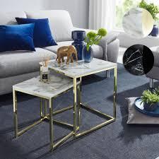 finebuy design beistelltisch 2er set marmor optik eckig couchtisch 2 teilig tischgestell metall kleine wohnzimmertische moderne satztische
