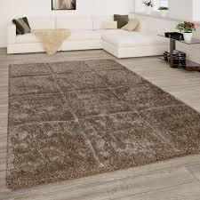 hochflor teppich wohnzimmer shaggy 3d effekt rauten muster modern braun