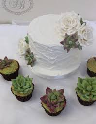 Single Tier Royal Iced Wedding Cake With Succulent Cupcakes
