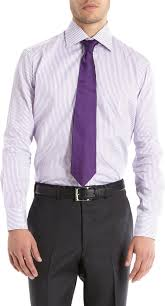 piattelli men u0027s trim fit striped dress shirt in purple for men lyst