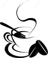 Coffee Cup Silhouette With Two Bean In White Background Stock Vector