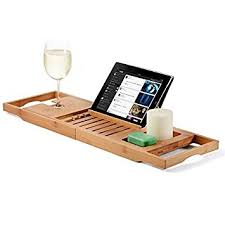 amazon com bamboo bathtub caddy tray with extending sides