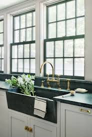 Unlacquered Brass Bar Faucet by Rafe Churchill Soapstone Sink Waterworks Unlacquered Brass