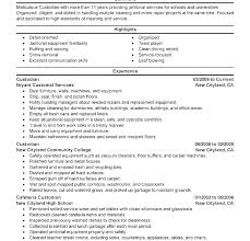 Janitorial Project Manager Resume Sample Custodian Cover Letter Resumes Janitor Duties