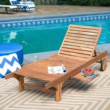 Pool Deck Lounge Chairs Outdoor Chaise Chair Recliner Patio Lounger Pullout Table Wood