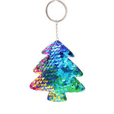 DreamBell Women Men Double Side Reflective Sequin Christmas Tree Key Ring Delicate Charm Chain