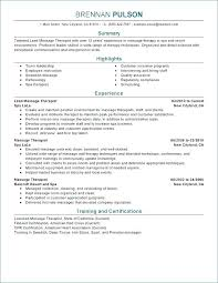 Massage Therapist Resume Objective For Therapy