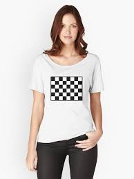MOTOR SPORT RACE RACING The Checkered Flag WIN WINNER Chequered Racing Cars Plain Simple WHITE Womens Relaxed Fit T Shirt By