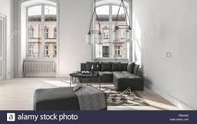 große weiße wohnzimmer mit sortierten schwarze möbel und