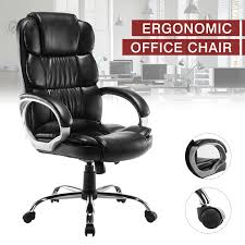 Details About High Back PU Leather Office Chair Executive Task Ergonomic  Computer Desk Black Mooreco Ergo Ex Ergonomic Office Chair Black Seat 5star Base 21 Width X 1850 Depth 28 24 51 Height Details About High Back Executive Computer Desk Swivel Armrest Leather With Plush Headrest Extensive Padding And Arms Allsteel Relate Ergonomic Chairs Fniture I Ergoprise Houston Texas 8779078688 Seating Tx Spigner Push Task Standing Desks Austin Ergonomic Home Tbc Control Room Desk Ehst3ebl Sit Stand Recling Adjustable Chiars Steelcase Leap V2