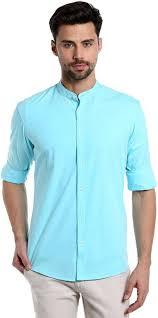 Dennis Lingo Men s Solid Casual Light Blue Shirt Buy Light Blue