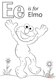 Free E Coloring Pages Download Elmo Page Alphabet