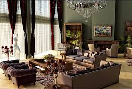 Interesting Tuscan Style Furniture Decor Ideas In High Ceiling Room With Dark Green Paint Wall And