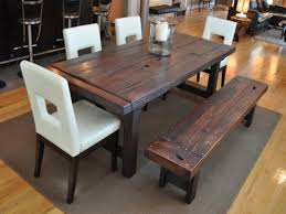 Rectangle Dining Table With 4 White Chairs Bench For Rustic Within Remodel 1