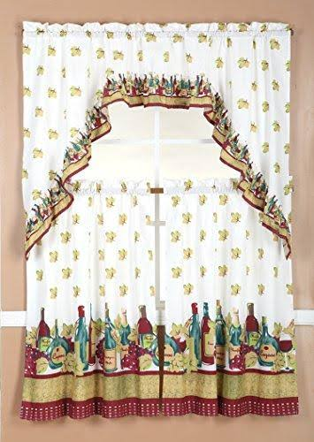 RT Designers Collection Ruffle Wine Kitchen Curtain Tier and Valance Set