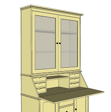 ana white grant secretary top hutch with doors diy projects