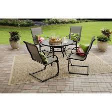 Mainstays Patio Furniture Manufacturer by Mainstays Bristol Springs 5 Piece Dining Set Grey Walmart Com