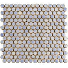 Home Depot Merola Penny Tile merola tile hudson penny round frost blue 12 in x 12 5 8 in x 5