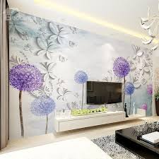 White Butterflies And Purple Dandelion Pattern Waterproof 3D Wall Murals