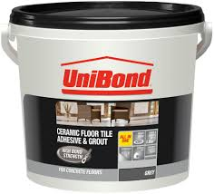 unibond ready to use floor tile adhesive grout grey 7 2kg