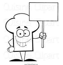 Cuisine Clipart Of A Black And White Chef Hat Guy Holding Blank Sign